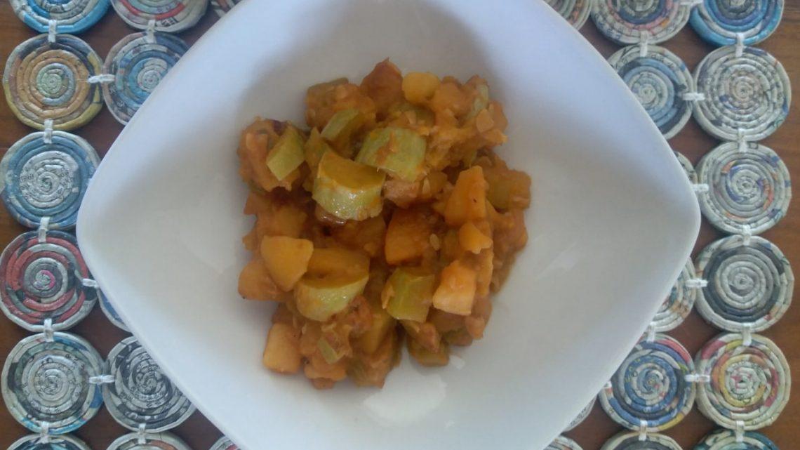 Zucchine trombetta e patate in umido (zucchina a ghiotta)